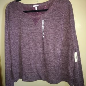 New Victoria's Secret plum sweater with lace.